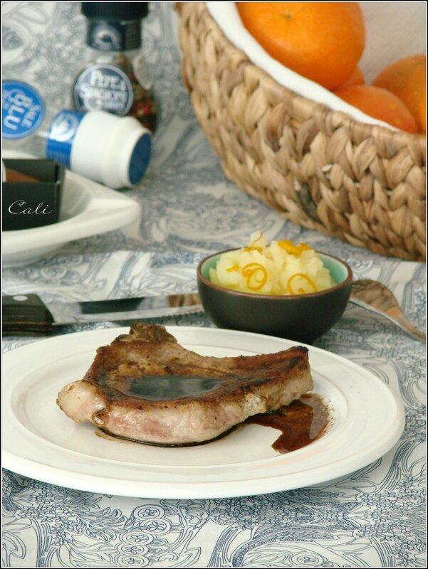 Côtes de Porc au Café & Purée de Pommes de Terre au Safran et à la Mandarine 004