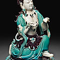 A turquoise and aubergine-glazed figure of a bodhisattva, 18th-19th century