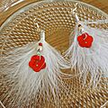 boucles d'oreilles plumes blanches