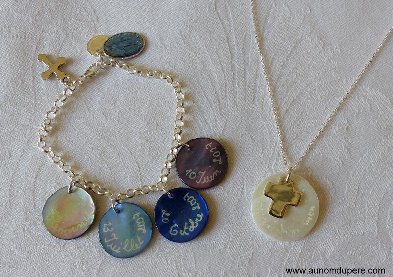 Bracelet de Communion avec médaille miraculeuse en plus (37 €) et collier de Communion (42 €)