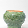 A Longquan celadon incised 'Characters' jar, Yuan-early Ming dynasty, 14th century