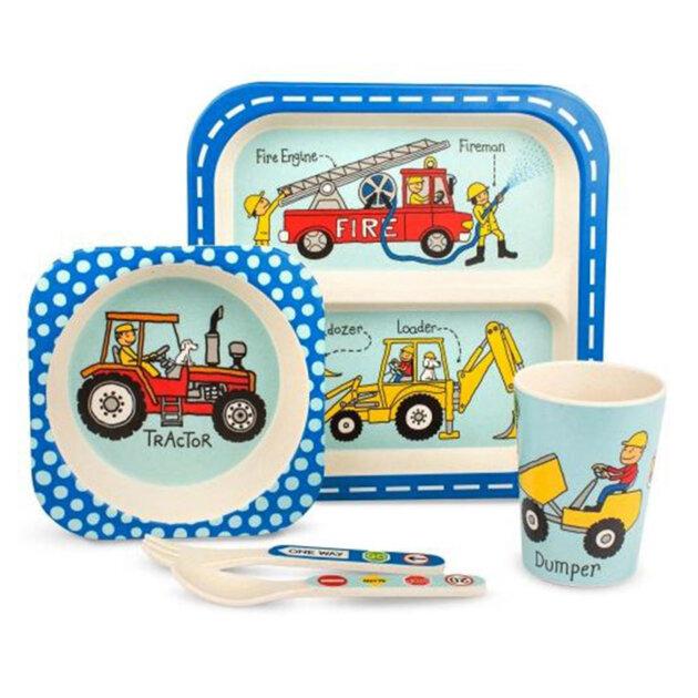 lot_vaisselle_enfants_bambou_tyrrell_katzz_camion_tracteurs