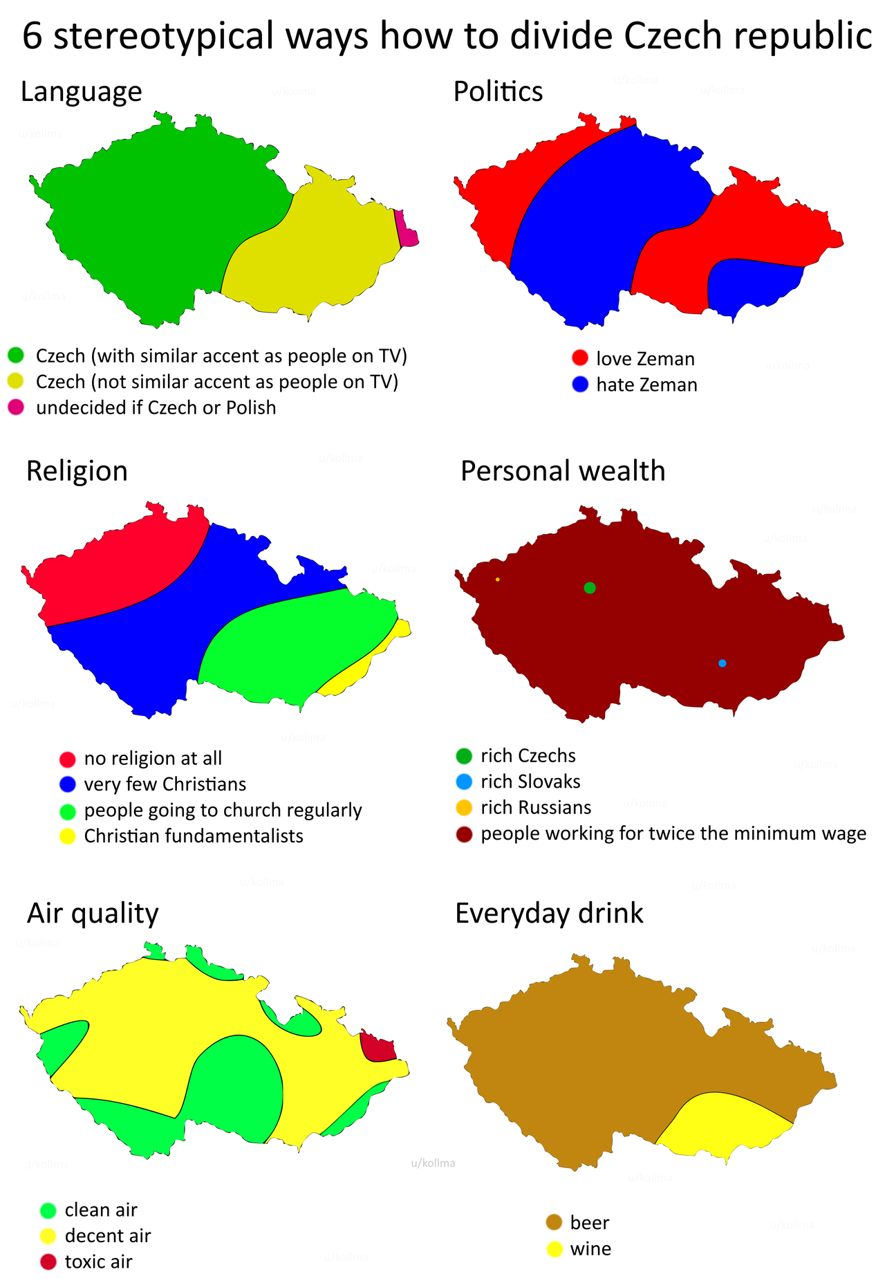 Six stereotypical ways how to divide Czech Republic