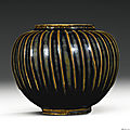 A 'henan' black-glazed ribbed jar, northern song dynasty