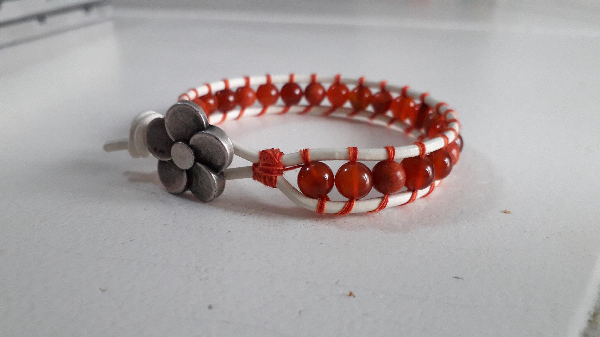 Bracelet wrap cornaline et agate