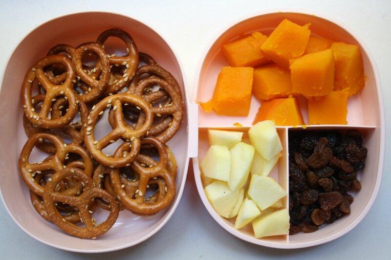 brezels sésame, potimarron cuit, pomme, raisins secs (2)