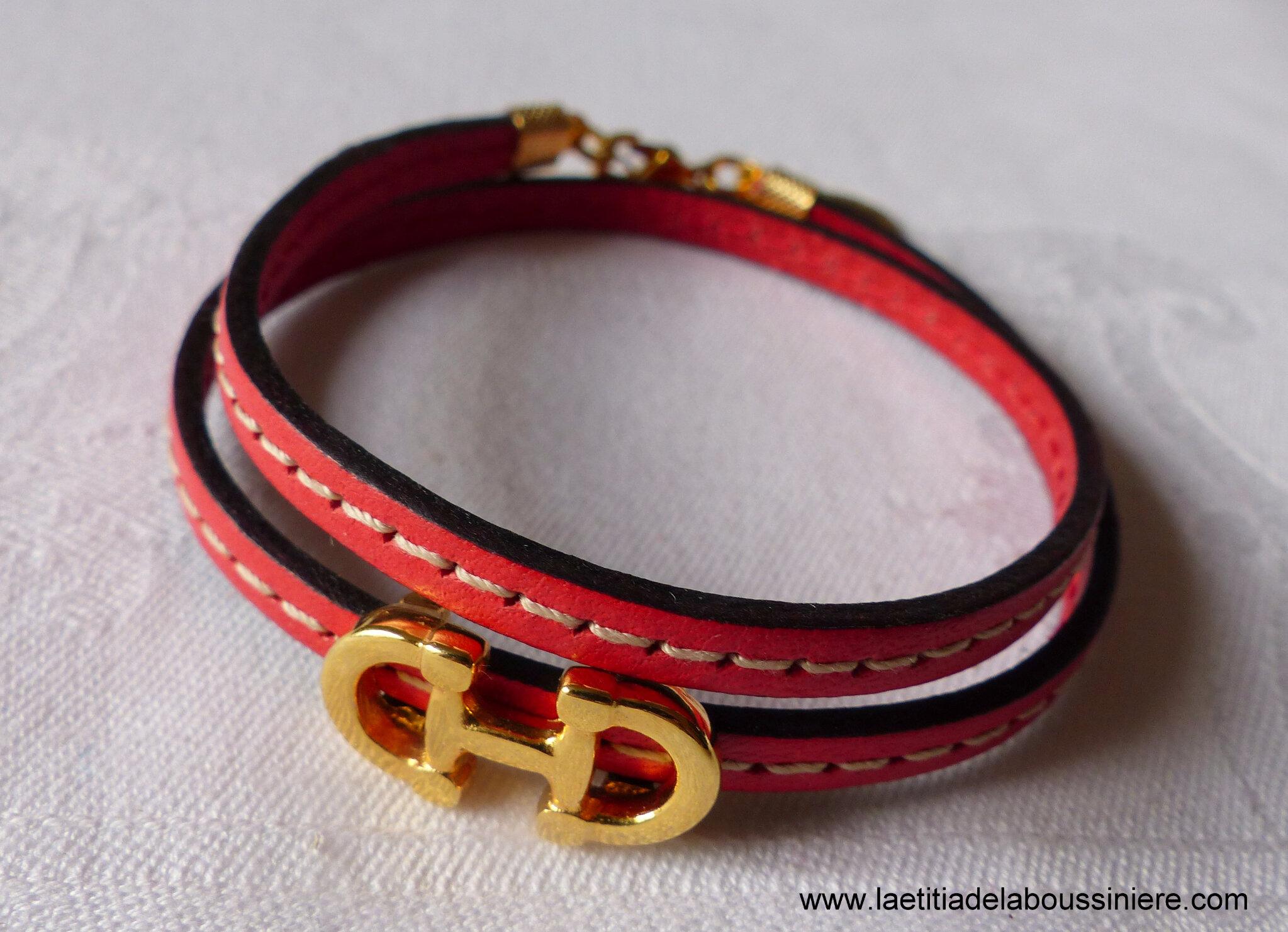 Bracelet Cavalière doré double (corail) - 24 €