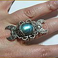 Bague elfique wicca pagan tri moon labradorite medieval fantasy ring