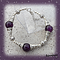 Bracelet ethnique capa 3 perles 12 mm jade purple argent du tibet