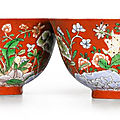 Sotheby's paris art d'asie led by a rare pair of coral-ground famille verte 'floral' bowls, kangxi yuzhi marks and of the period