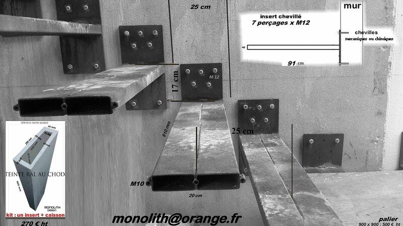monolith escalier suspendu , floating srair,