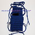 mini sac for mobile phone crochet bleu b