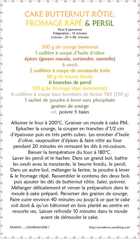 Cake butternut rôtie, fromage râpé & persil_fiche
