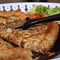 Tarte aux oignons fondus, morbier, pommes de terre & courgette