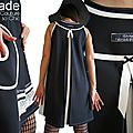 Robe Bicolore Trapèze Noire & blanche asymétrique