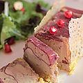 Foie gras comtesse du barry,tuile de pain et salade noisettes grenade