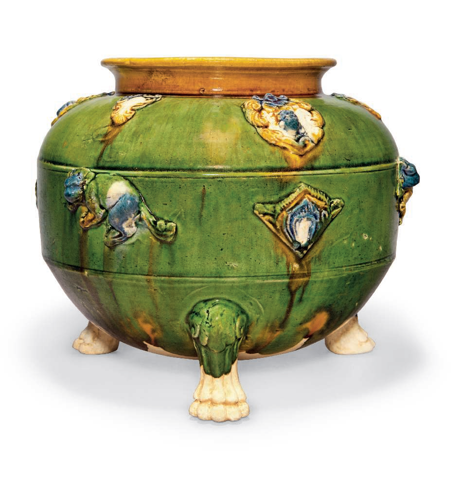 An unusual blue and sancai-glazed pottery tripod censer, Tang dynasty (AD 618-907)