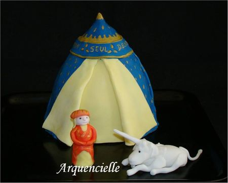 Gâteau 3D tapisserie Dame à la licorne