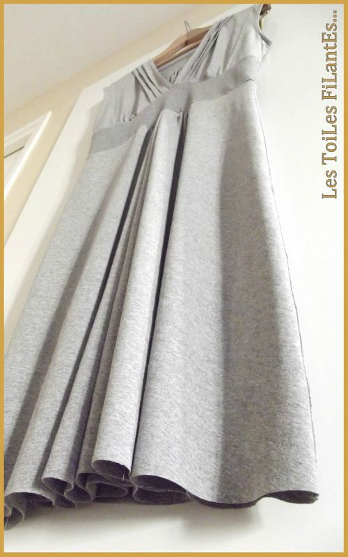 Robe burda jersey gris et capel moutarde6-1
