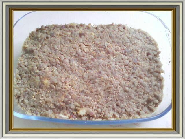 crumble ananas sans glu plat avant four