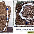 Parure ruban blanc et perles bleues (P67)