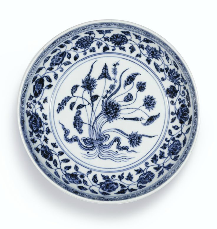 A blue and white 'Lotus Bouquet' dish, Ming dynasty, Yongle period. Photo: Sotheby's.