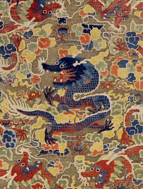 A silk and metal thread 'Nine Dragon' Chinese carpet, China, Qing dynasty, late 19th century, or possibly earlier 3