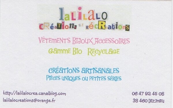 carte de visite lalilalo creations et recreations