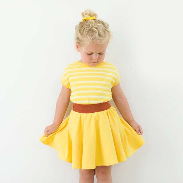 Chalk Stripes French Terry Habanero Yellow 03b