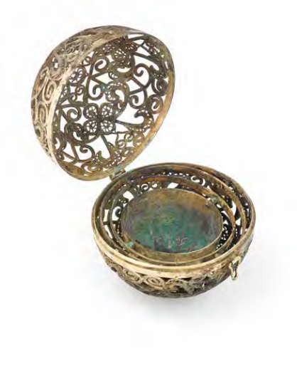 A rare silver filigree openwork perfumier, Tang Dynasty (618-907)