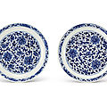 A pair of blue and white 'lotus' dishes, marks and period of kangxi (1662-1722)