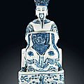 A blue and white figure of a daoist deity, ming dynasty, wanli period (1573-1619)