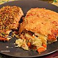 Saumon en croûte de pistache et gratin dauphinois.