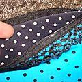 Trousse Maisonnette Pois turquoise doublure