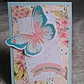 carte twist papillon anniversaire