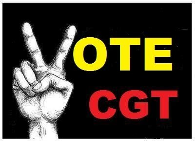 Vote main CGT rouge jaune