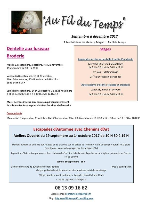ateliers de septembre à décembre 2017 Mairie