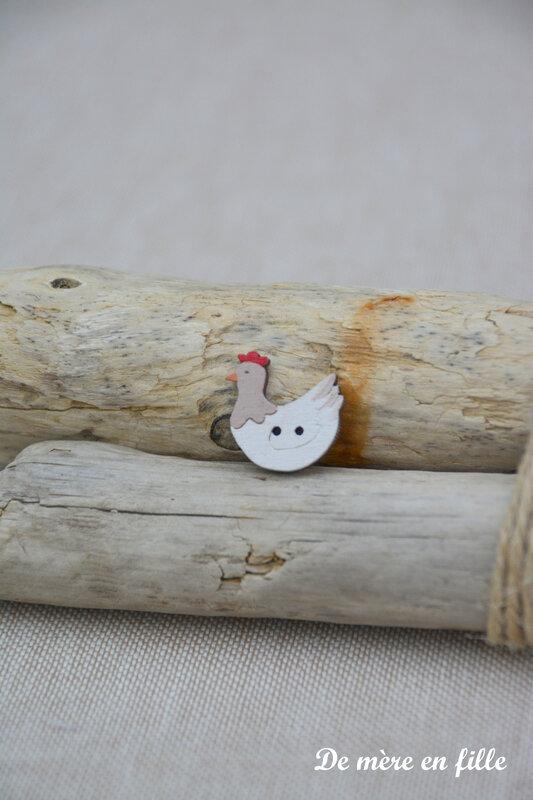 petite poule blanche tête grise