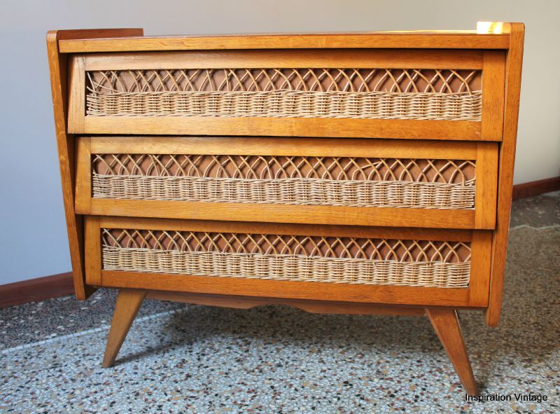 Commode 50 S Bois Rotin Inspiration Vintage