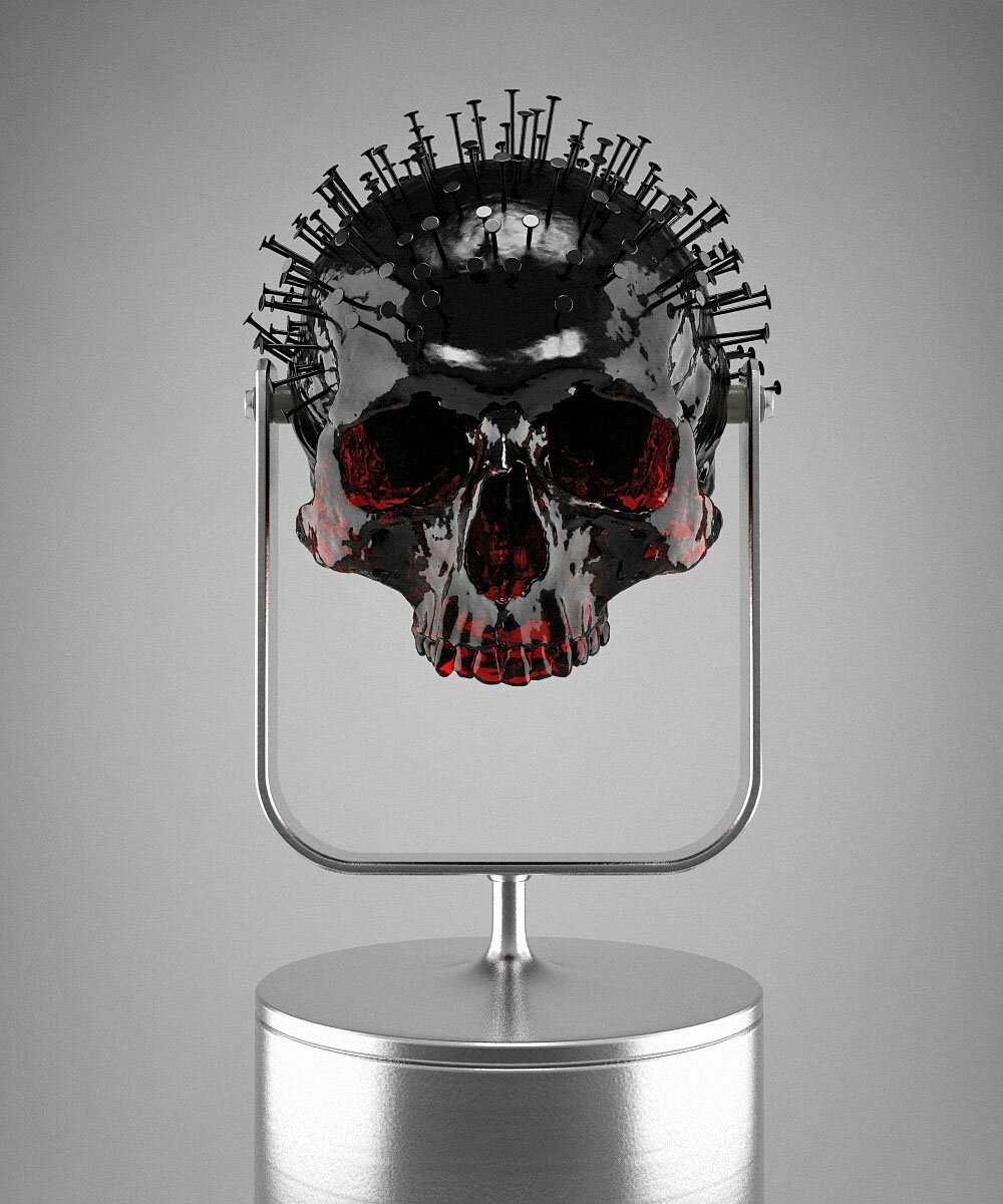 Hedi Xandt, The Longer You Last III, 2013 translucent red plastic cast of an 18th century skull with coated black nails, custom-made plastic fixture (in aluminum paint). © 2014 Hedi Xandt
