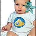 Body bébé Original - Cadeaux de naissance - Sous-marin jaune - manches courtes - Thème Marin
