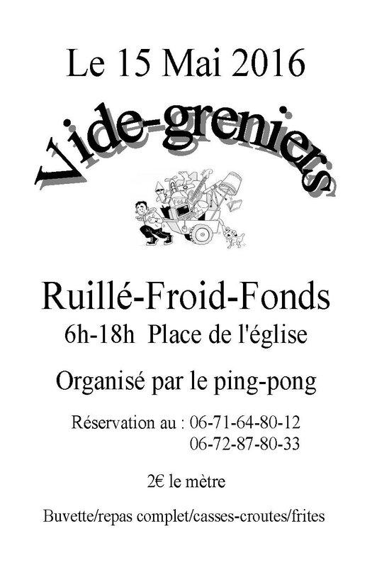 Vide Grenier RUILLE FROID FONDS 15 MAI 2016