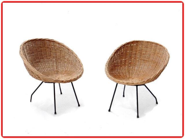 Paire de fauteuils rotin métal vintage 1950