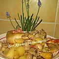 Poulet de ferme aux lardons champignons et pommes de terre