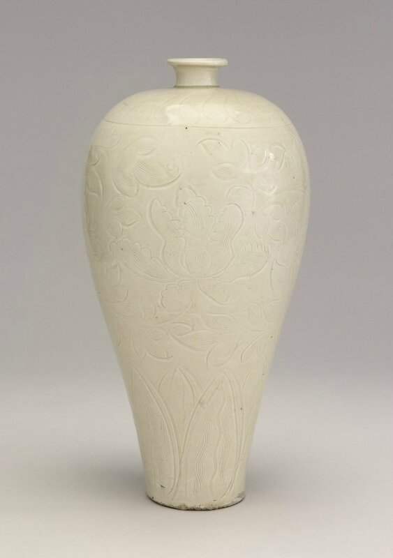 A Ding meiping vase with carved peonies, Northern Song Dynasty, 11thC-12thC