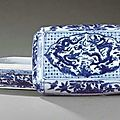 A late Ming blue and white rectangular box and cover, Wanli six-character mark within a double rectangle and of the period (1573-1619)