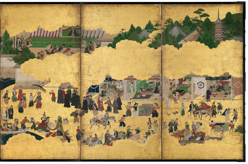 An important Nanban six-fold screen depicting the arrival of a Portuguese ship for trade, Edo period, 17th century 2