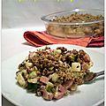 Crumble croquant aux pistaches, courgette & jambon au fromage