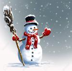 88838124-bonhomme-de-neige-au-chapeau-avec-un-balai-illustration-de-noël-d-hiver