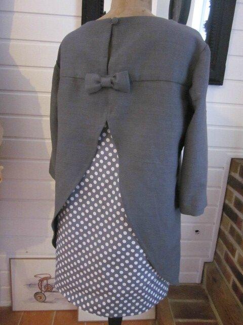 Tunique LEONTINE en lin gris et coton gris à pois blanc (10)